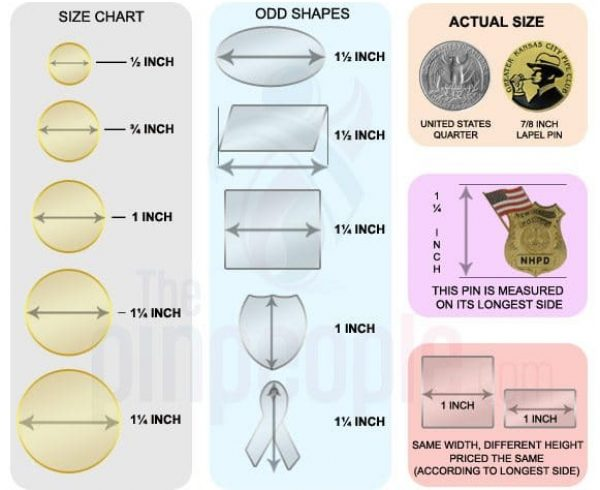 Custom Lapel Pin Sizes and Measurements