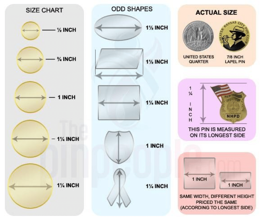 Lapel Pins Sizing Examples